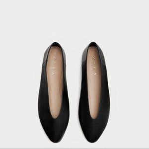 f1ae4b3a6f1 Zara Shoes | Womens Black Leather V Cut Ballerinas Flats | Poshmark